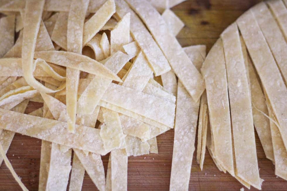Corn tortillas cut into strips.
