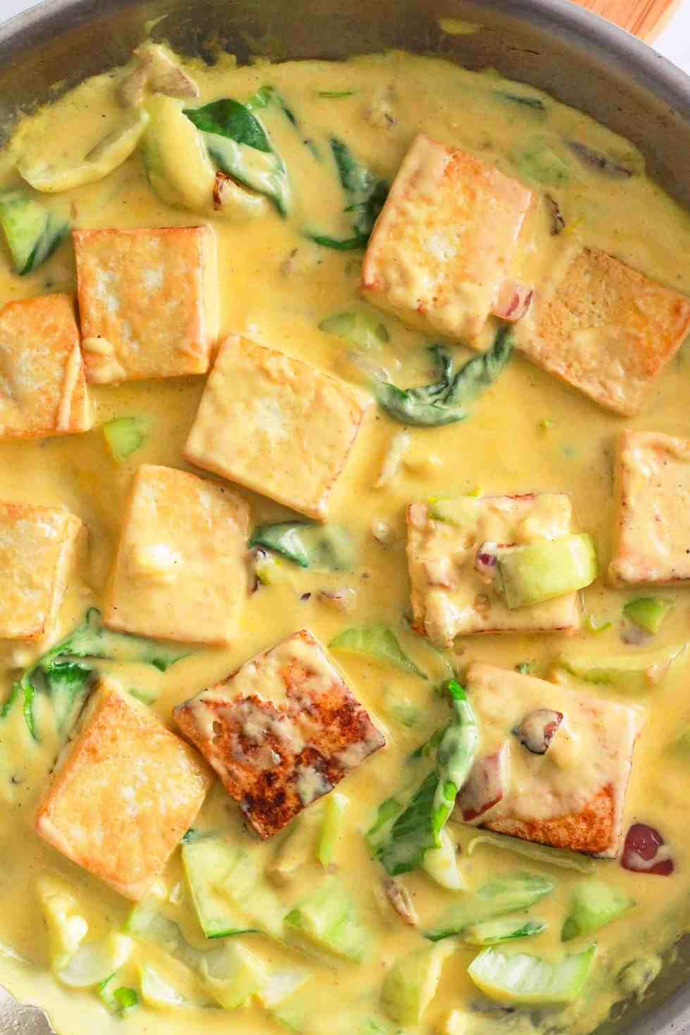 Mango Pan-Fried Tofu in a skillet.