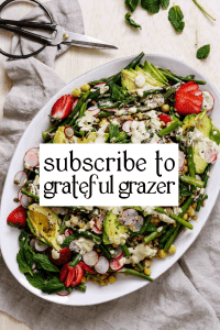 """Green salad with text that reads """"Subscribe to Grateful Grazer."""""""