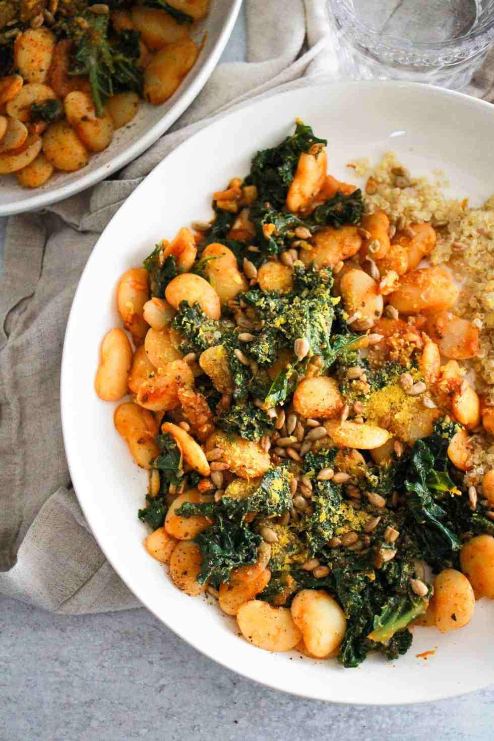 Beans and greens in white bowls are easy college meals