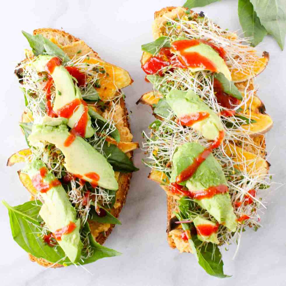 Open-faced sweet potato sandwich with avocado showing how to make easy college meals