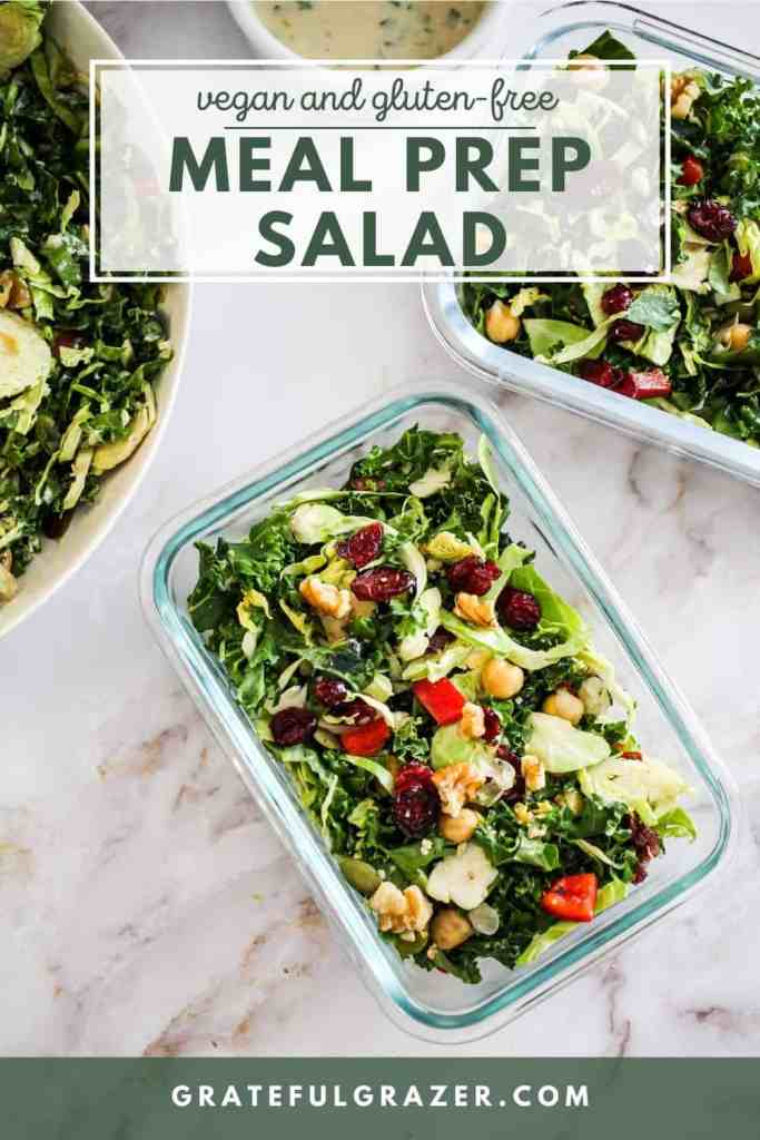 """Kale salad with chickpeas in glass meal prep containers with green text that reads, """"Vegan and Gluten-Free Meal Prep Salad; GratefulGrazer.com"""""""