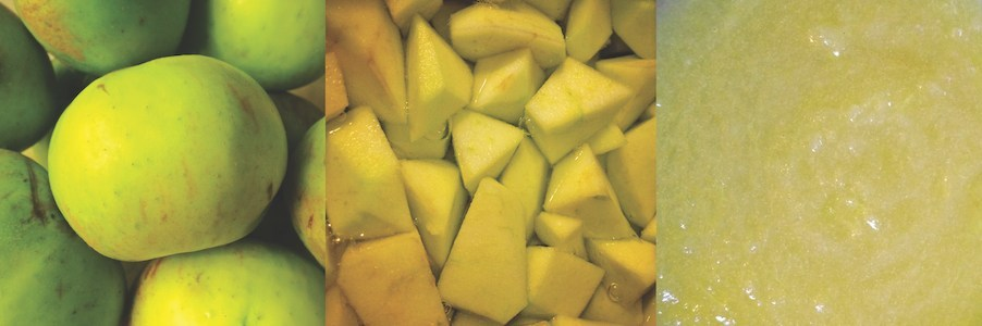 An image of Bramley apples. It shows them whole, cut into cubes, and then how they look when they're cooked.