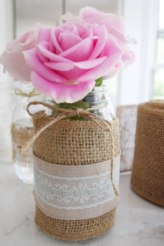 big burlap with rose long pic