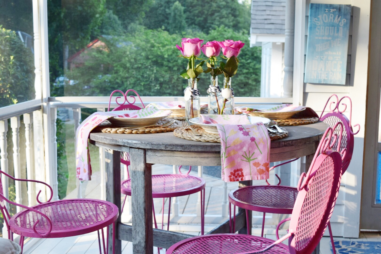 pink chairs shown
