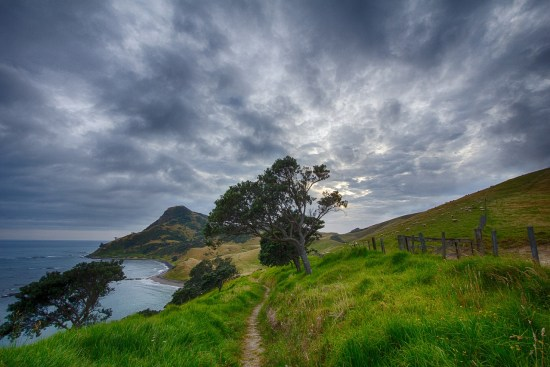 path, hill, clouds