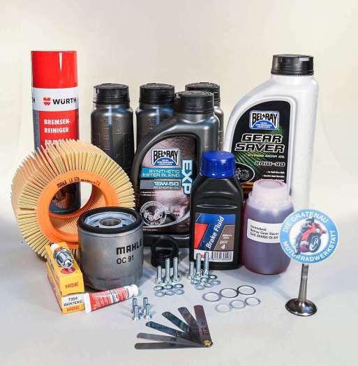 Wartungskit für alle BMW R 4 Ventil Boxer bis R1150, unter anderem R1100GS, R1150R, R1150GS. Motoröl Bel Ray, Getriebe Öl, Bremsflüssigkeit, Zündkerzen, Fühlerblattlehere, Ventildeckeldichtungen, Luftfilter, Ölfilter, Schrauben, Bremsenreiniger