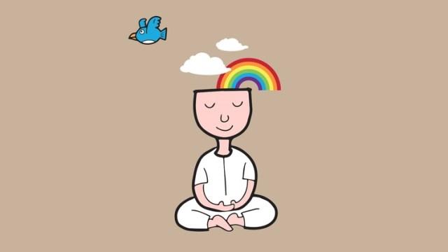 meditatie de tip mindful, mindfulness, relaxare, liniste, curcubeu, pasarele,
