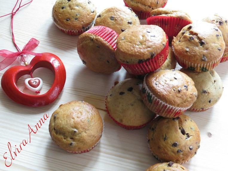 Muffin banane noci e gocce di cioccolato