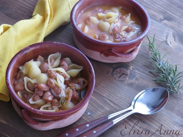 zuppa di conchiglie e fagioli veloce