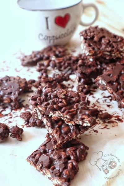 barrette di cioccolato con farro soffiato