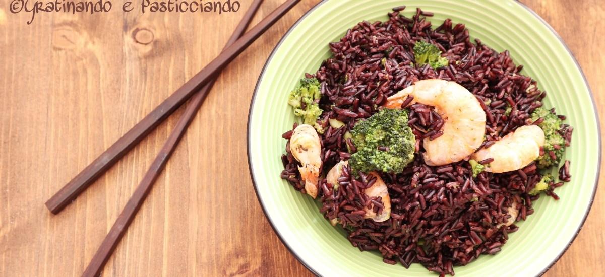 riso nero con gamberi e broccoli