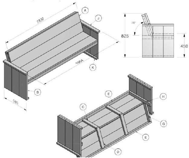 Bouwtekeningen voor tuinbanken steigerhout en pallets