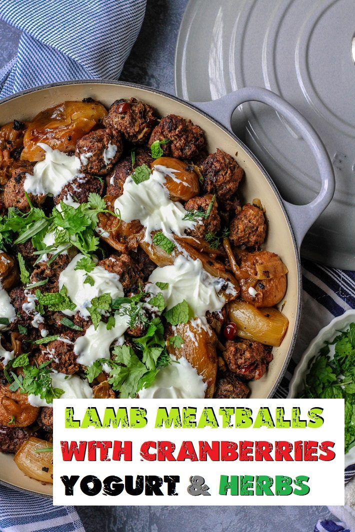 LAMB MEATBALLS WITH CRANBERRIES YOGURT & HERBS