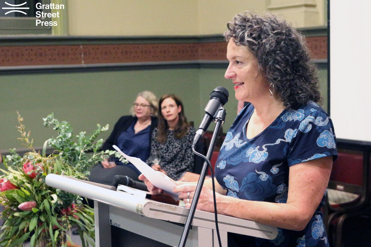 Angela Savage delivering her speech at the book launch