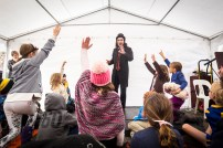 Children are seen interacting with Magician 'Stopwatch Magic' at the 2017 Clunes Booktown Festival. Photograph by Chris Hopkins