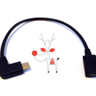 Cablu USB Type C mufa 90 grade la micro USB 2.0 mama, negru, 27cm