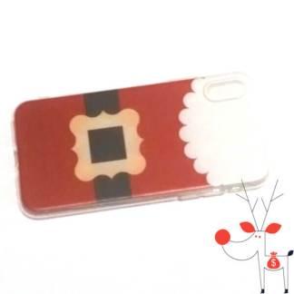 Husa protectie de silicon iPhone X, model costum de Mos Craciun