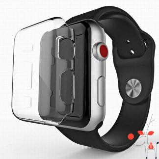 Carcasa silicon Apple Watch 42mm, protectie margini ecran smartWatch 42mm, Seria 3, transparenta