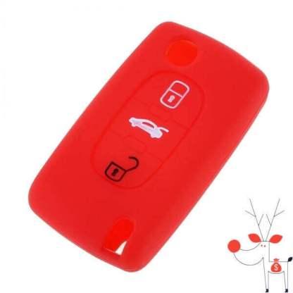 Husa protectie silicon carcasa cheie auto Citroen, Peugeot, tip briceag, 3 butoane