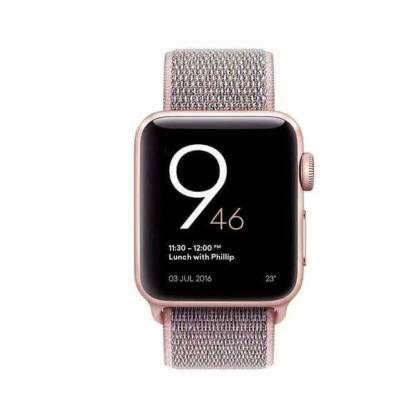 Bratara nylon Apple Watch 38mm, curea ceas seria 1, 2, 3, roz nisip