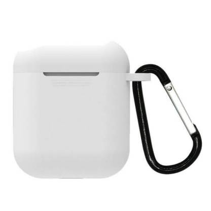 Husa silicon protectie Apple Airpods, carcasa suport casti, cu carabina,