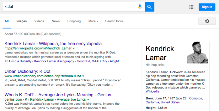 "Searching for Kendrick Lamar using his former stage-name ""k.dot"" (knowledge panel on the right)."