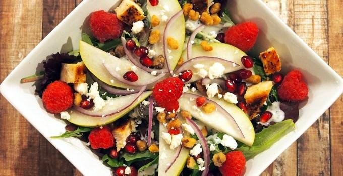 Chicken, Pear, and Raspberry Salad with Yogurt Poppy Seed Vinaigrette