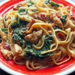 Chicken Fettucine with Sundried Tomatoes & Kale in Cauliflower Alfredo Sauce