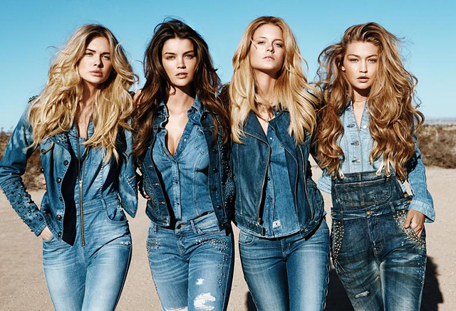 Guess models in all denim