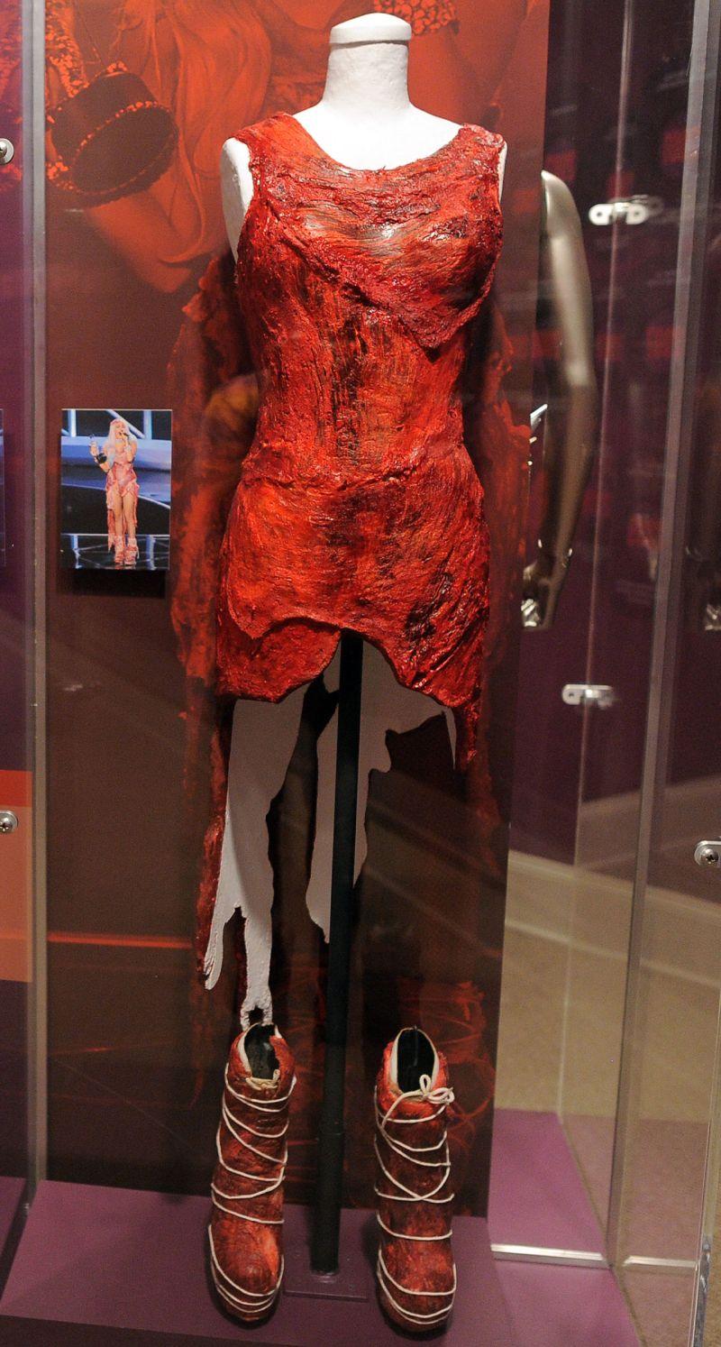 lady gag meat dress