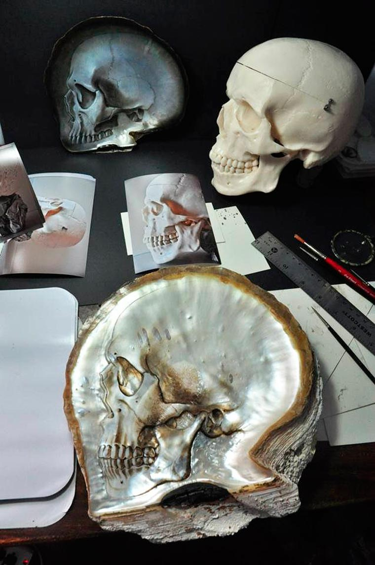 Skull Carved Seashells by Gregory Halili (1)
