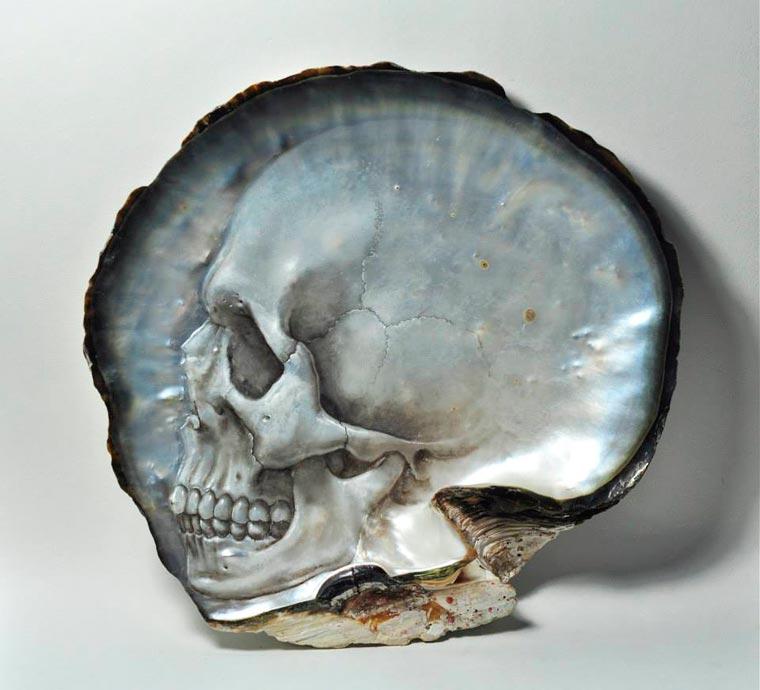Skull Carved Seashells by Gregory Halili (5)