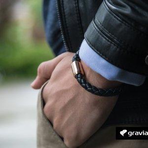 Armband mit Gravur – Leder schwarz geflochten Graviando