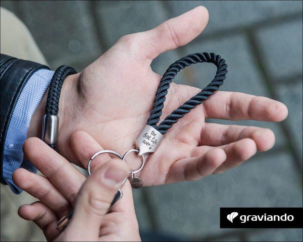 Schlüsselanhänger mit Gravur - segeltau gedreht Matt Graviando
