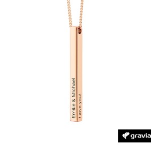 Bar Kette mit Gravur Rose Gold