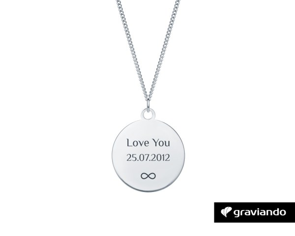 Halskette Kreis mit Gravur Silber Graviando