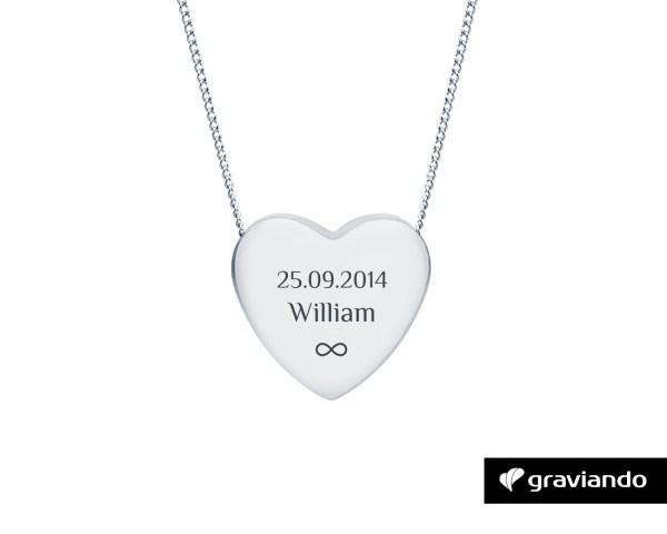 Herzkette mit Gravur Silber Graviando