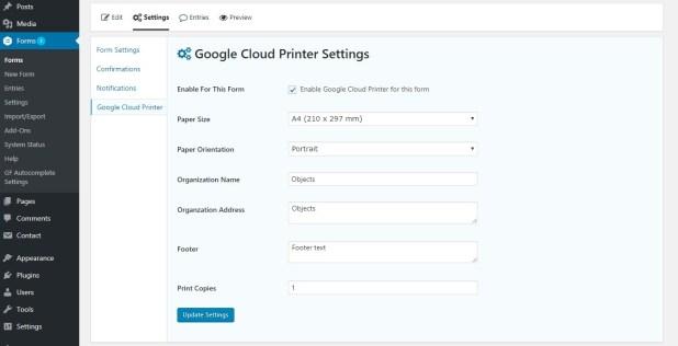 gravity forms google printer form settings