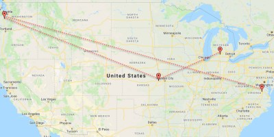 trek mapped across the United States