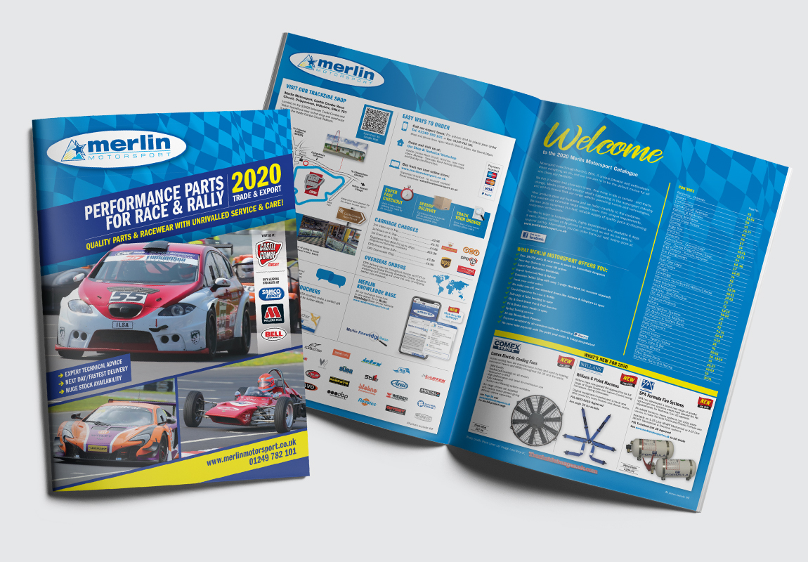 Merlin Motorsport Catalogue Cover and Intro Spread