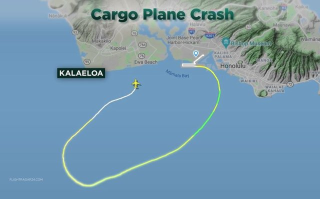 A cargo plane crashed in waters off Oahu early Friday shortly after takeoff.