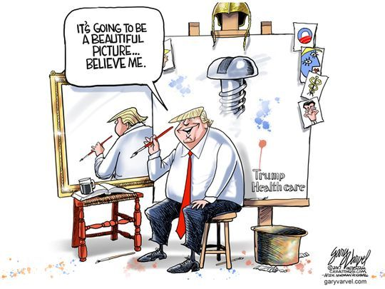 Trump healthcare, painting a beautiful picture cartoon
