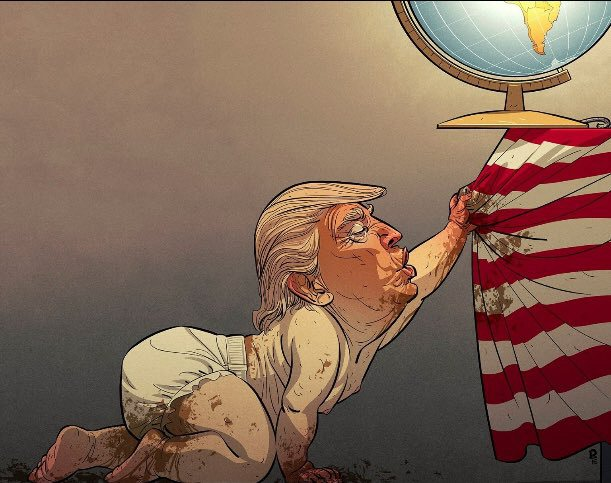 Baby Trump pulling flag and globe off table.