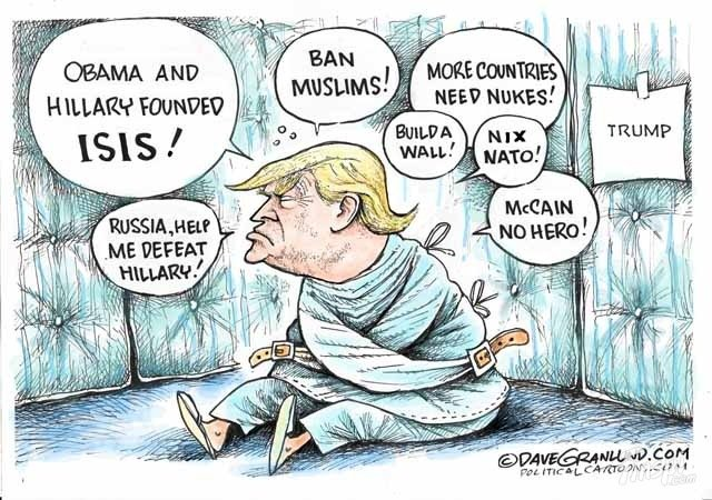 Trump in a straight jacket babbling about Hillary and ISIS and such.