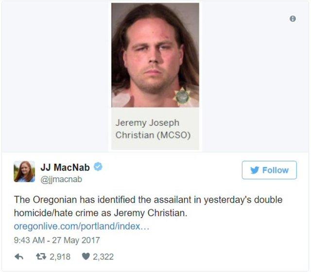 Tweet identifying killer from Portland, Oregon homicides.