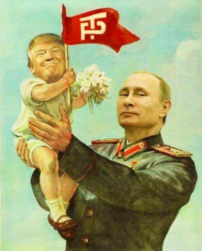 Putin holding baby Trump.