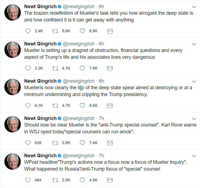 "Gingrich loses whatever ""cool"" he had over the special counsel."