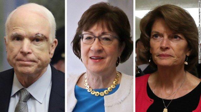 Senators: John McCain, Susan Collins, and Lisa Murkowski