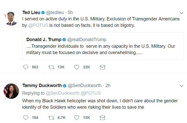 Tweets from Ted Lieu and Tammy Duckworth about transgender individuals in the military.